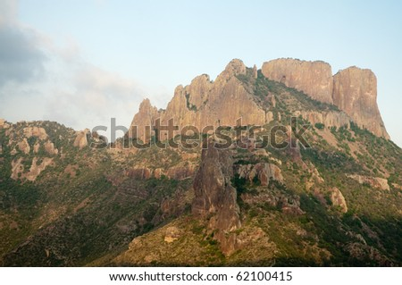 the Chisos Mountains on Lost Mine Trail - stock photo