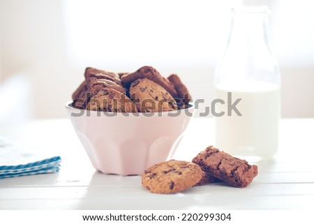 the chocolate cookies on white table - stock photo