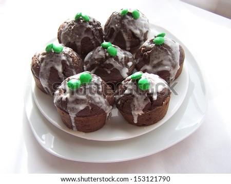 The chocolate cupcakes - stock photo
