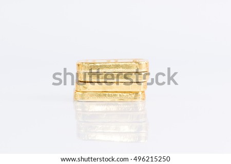 The chocolate gold bar on white background