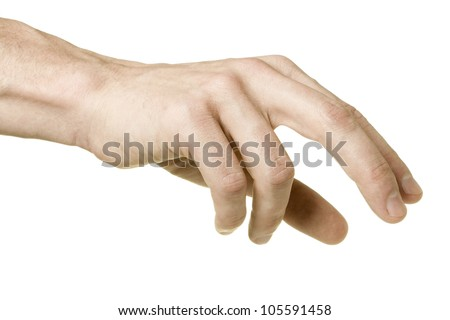 The choice. Adult male hand reaching to pick up something with chess player grip, shot form little finger side, isolated on white background. - stock photo