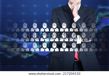 The choice of the best suited employee. HR, HRM, HRD ,CRM concepts. A forex specialists. - stock photo