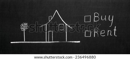 The choose buy or rent written on the blackboard with chalk - stock photo