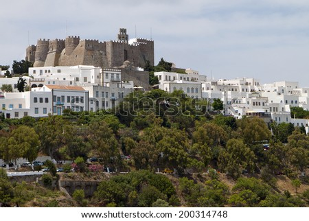 The Chora and Saint John the Evangelist monastery at Patmos island in Greece  - stock photo