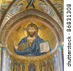 The Christ Pantokrator. Cathedral-Basilica of Cefalu, is a Roman Catholic church in Cefalu, Sicily, southern Italy. - stock photo