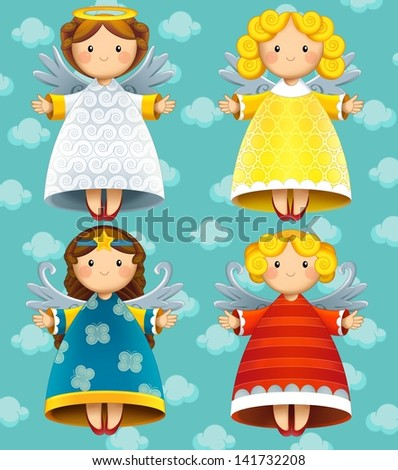 The christmas - angels - illustration - stock photo