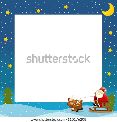 The christmas border - santa on the sledge - square frame - stylish - elegant - space for text - happy and cheerful illustration for the children