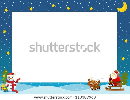 The christmas border - santa on the sledge - square frame - stylish - elegant - space for text - happy and cheerful illustration for the children v 3