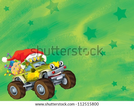 The christmas card - happy illustration for the children - cars - vehicles - stock photo