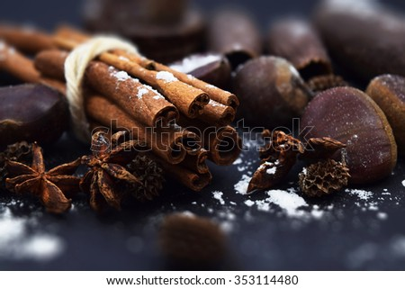 The Christmas composition on a black background. A Cinnamon, Chestnuts, Anise and Jequitiba. - stock photo