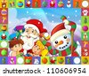 The christmas frame with lot of elements - patchwork - illustration for the children 37 - stock vector