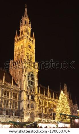 The christmas market on the Marienplatz in Munich, Germany - stock photo
