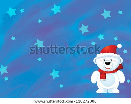 The christmas polar bear - funny illustration for the children 1