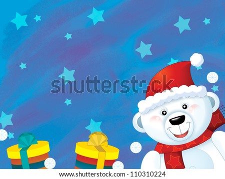 The christmas polar bear - funny illustration for the children 2 v 2