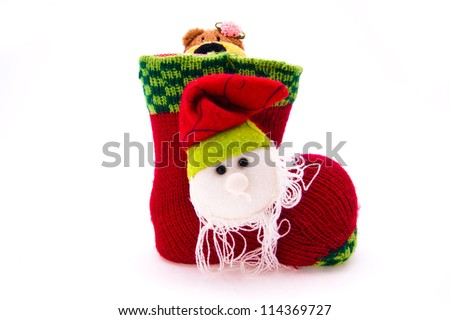 the Christmas red boot is photographed on a white background