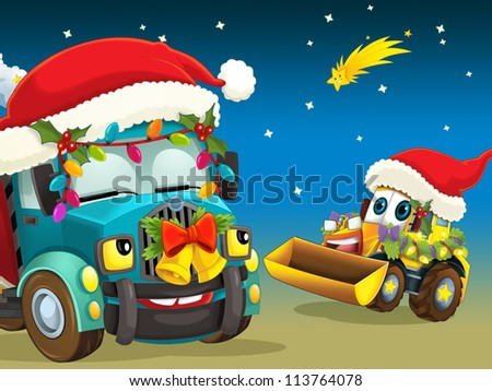 The christmas scene with the cars - machines - illustration for the children - stock photo