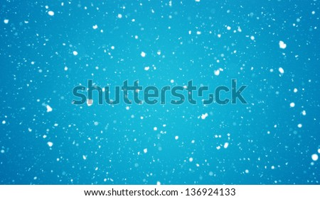 the christmas snowfall in the evening