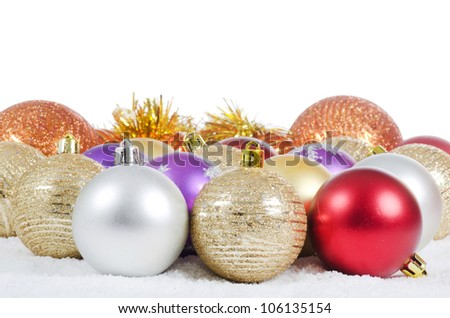 The christmas tree ball sa a background