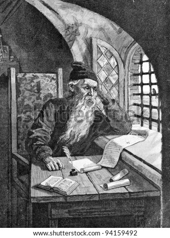 """The chronicler Nestor. Engraving by Multanovsky from picture by painter Andreev. Published in magazine """"Niva"""", publishing house A.F. Marx, St. Petersburg, Russia, 1893 - stock photo"""