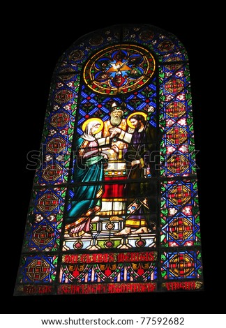 The church glass of Barcelona Cathedral (Spain)