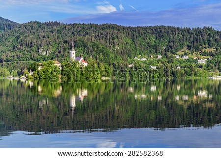 The church of Assumption in Lake Bled, Slovenia - stock photo