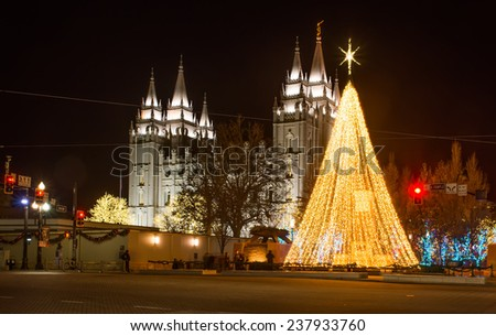 The Church of Jesus Christ of Latter-day Saints before Christmas. Salt Lake City, Utah, United States - stock photo