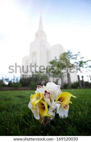 The Church of Jesus Christ of Latter-day Saints Brigham City Temple in Summer - stock photo