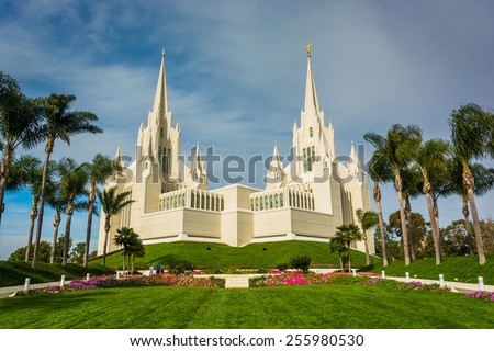 The Church of Jesus Christ of Latter-Day Saints Temple in San Diego, California. - stock photo