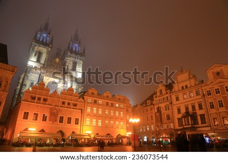 The Church of Our Lady before Tyn in the Prague Old Town in foggy autumn night, Czech Republic - stock photo