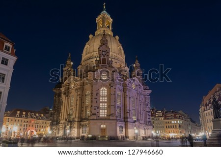The Church of Our Lady (Frauenkirche) in Dresden, Germany. - stock photo