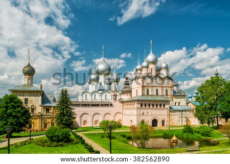 The Church of Resurrection and other churches in Rostov Kremlin. Ancient town of Rostov The Great is part of the Golden Ring of Russia and site of UNESCO. - stock photo