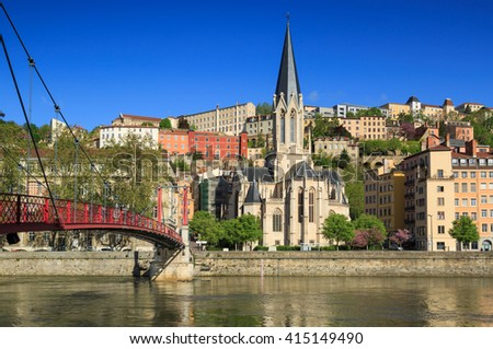 The Church of Saint Georges at the shore of the Saone river, Lyon, France. - stock photo