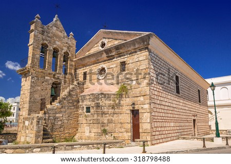 The Church of Saint Nicholas of Mole on Solomos Square in Zakynthos, Greece - stock photo