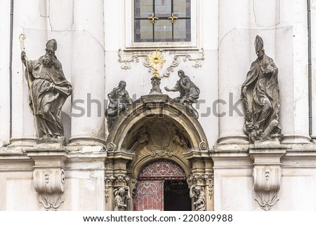 The Church of Saint Nicholas (Saint Nicholas Cathedral) at Old Town Square, Prague, Czech Republic. Built between 1704 - 1755 it is described as the most impressive example of Prague Baroque. - stock photo