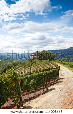 The Church of San Bovo - Cossano Belbo (Piedmont, Italy): landscape of Langhe. - stock photo