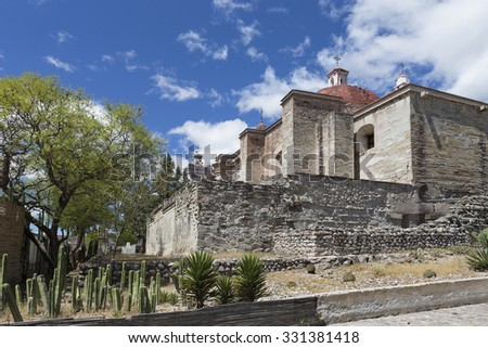 The Church Of San Pablo lies at the entrance to the archeological site in Mitla. It was built in the 16th century by Spanish on the top of a large pre-Hispanic religious platform.