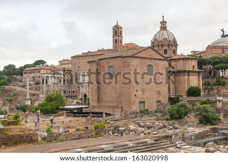 The church of Santi Luca e Martina with the remains of the Roman Forum