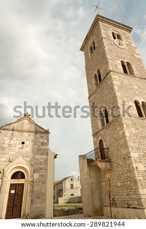 The Church of St Anselm on town square, Nin, Croatia - stock photo