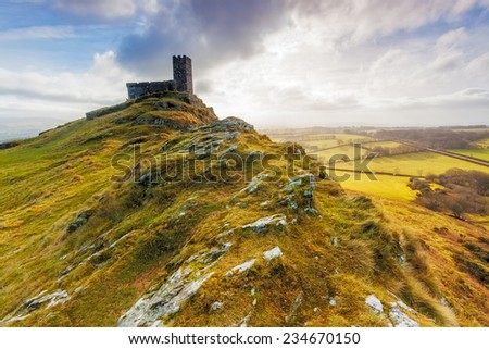 The Church of St Micheal de Rupe on Brentor, Dartmoor National Park, Devon England UK - stock photo