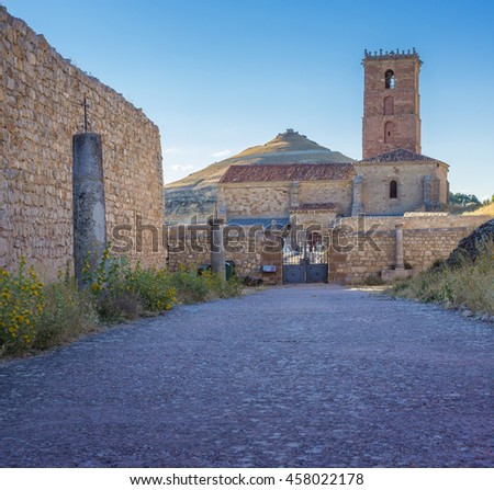 The church of the Atienza castle. The Castle is located in Castilla y La Mancha in Spain. It was built in the middle ages on the top of a rocky mountain where it stands until today.