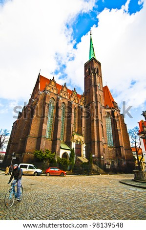 The Church of the Holy Cross (St. Bartholomew's). Wroclaw, Poland - stock photo