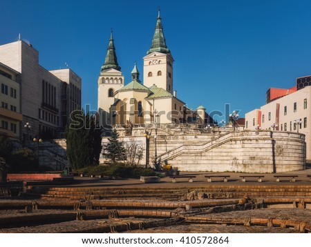 The Church of the Holy Trinity on Andrej Hlinka Square in Zilina, Slovakia