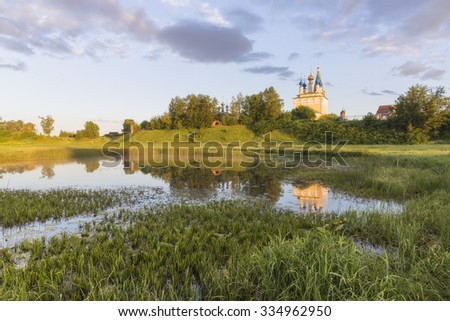 The Church of the Nativity of the blessed virgin Mary with a bell tower in the village of Gorica. Ivanovo region.