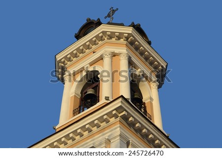 The church's bell tower - stock photo