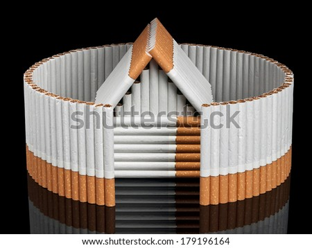 The cigarette house of inside not completed fence from cigarettes