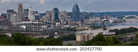 The Cincinnati riverfront shot from Covington, Kentucky. - stock photo