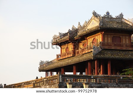 The citadel (emperors palace) in Hue, Vietnam - stock photo