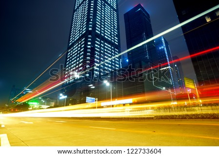 The city and the road at night