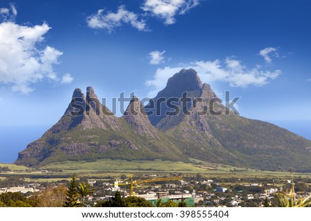 The city at the bottom of mountains. Mauritius - stock photo