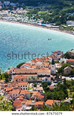 the city Baska on island Krk - Croatia - stock photo